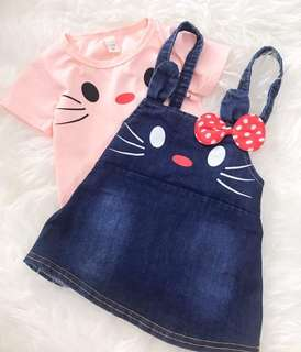 MINNIE & KITTY OVERALL 2 PIECES