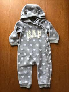 GAP Grey and White Hearts Fleece Playsuit Size 12-18m