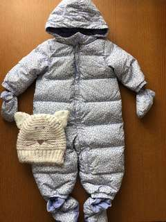 GAP Eco Puffer Winter Snow Suit Size 12-18m Free Hat