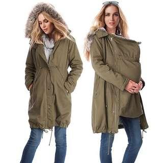 (S~3XL) European stitching hooded fur collar maternity jacket