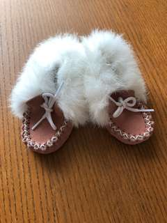 Pink Baby Girl Moccasins Mocs Suede and Fur Size 4 - 5""