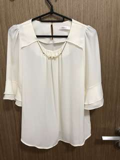 Korean style White Chiffon Blouse