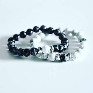 Snowflake obsidian and Howlite bracelet