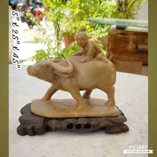 "Rare 1960s Wenge Era Stone Carving of ""Niu Tong"" or Cowherd Boy. Good Condition, no chip no crack. Medium size, not small. Detail/ Size per photos. $68 offer, sms 96337309."