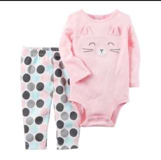 *12M* Brand New Carter's 2-Piece Bodysuit and Pant Set For Baby Girl