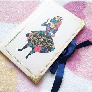 日本版 - Disney Alice in wonderland 迪士尼愛麗絲 硬皮碎花剪影蝴蝶結絲帶 記事簿 日記簿 Flower pattern with ribbon notebook diary
