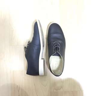 COS Navy Nappa Leather Lace Up Shoes