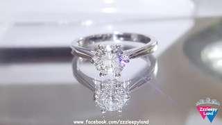 超閃主石1卡十心十箭高炭鑽 925純銀6層包金戒指,清雅脫俗,可訂造任何圈碼