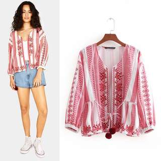 2018 summer new red ethnic wind embroidery lantern shirt