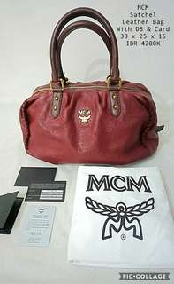 100% Authentic MCM Satchel Leather Bag Complete with Card n DB