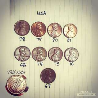 Vintage USA Copper 1-cent coin. Year 67, 68, 74, 75, 76, 78, 79, 80, 81. Detail/ Size per photos. 9pcs for $10 offer, sms 96337309.