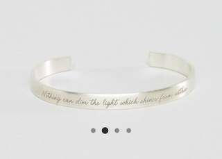 BN Maya Angelou Legacy by Dogeared Silver Plated Nothing Can Dim The Light From Within Engraved Cuff Bracelet