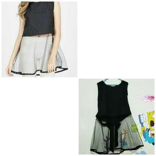 Onyx tulle top