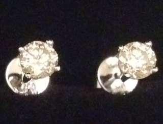 18K 天然鑽石耳環一對60份