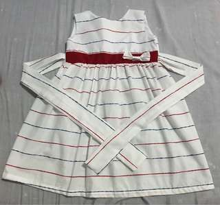 Striped White Dress with Ribbon