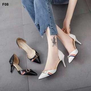 Heels Gesper Hitam Murah - High Heels Glossy Putih - Sepatu Heel Kantor - Higheels Kerja Wanita - Sepatu Heels Pesta Mewah