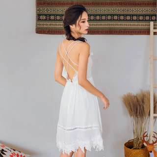 [PO] backless lace fairy white sukol skirt dress