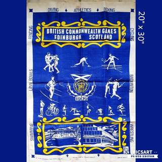 "1970 British Commonwealth Games Memorabilia Linen Cloth, Edinburg Scotland. 20"" x 30"". It shows the various sports in the games as well as the sports stadium where it is held. $18 Clearance Offer! sms 96337309."