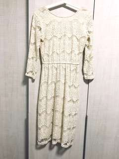 River Island White Lace Midi Long Sleeve Dress