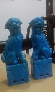 藍釉獅子像一對 (70's、七十年代、出口瓷)