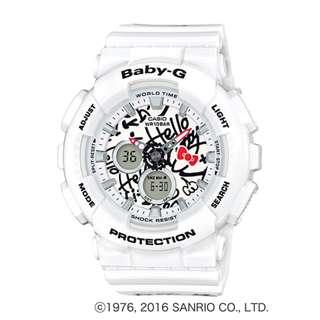 CASIO Baby-G x HELLO KITTY BA-120-series BA-120KT 白色 BabyG BA120KT