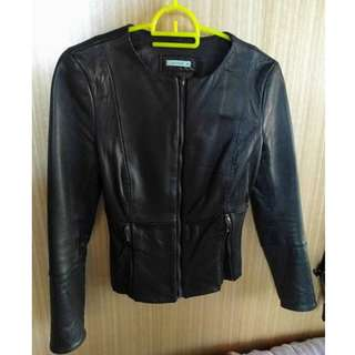 Kookai Black Leather Jacket 34