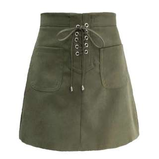 Green Lace Up Skirt
