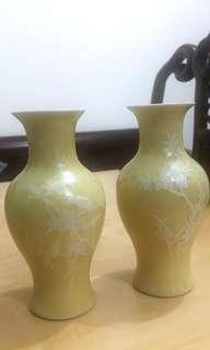 70's景德鎮黃釉堆白花鳥魚尾尊一對 (外銷瓷、七十年代、Vase)