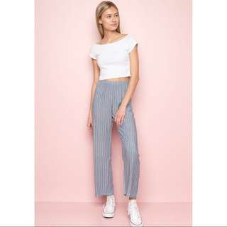 FCFS: authentic brandy melville blue x white striped frankie pants