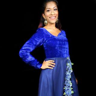 VELVET NAVY BLUE FLOW DRESS
