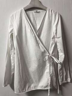 COS White Cotton Wrap Shirt