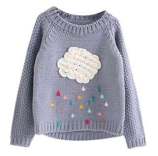 Cute Grey Cloud Baby Sweater