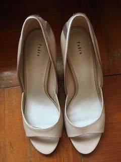 Pedro 祼色高踭鞋 nude open toe 37