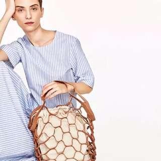 🚚 棕色創意編織網兜 復古簍空漁網包 網袋 手提購物袋