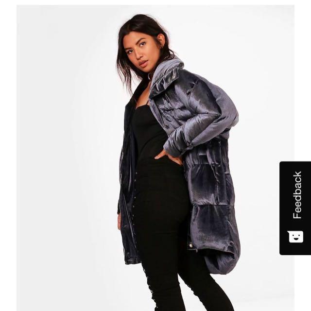 Boohoo velvet padded jacket