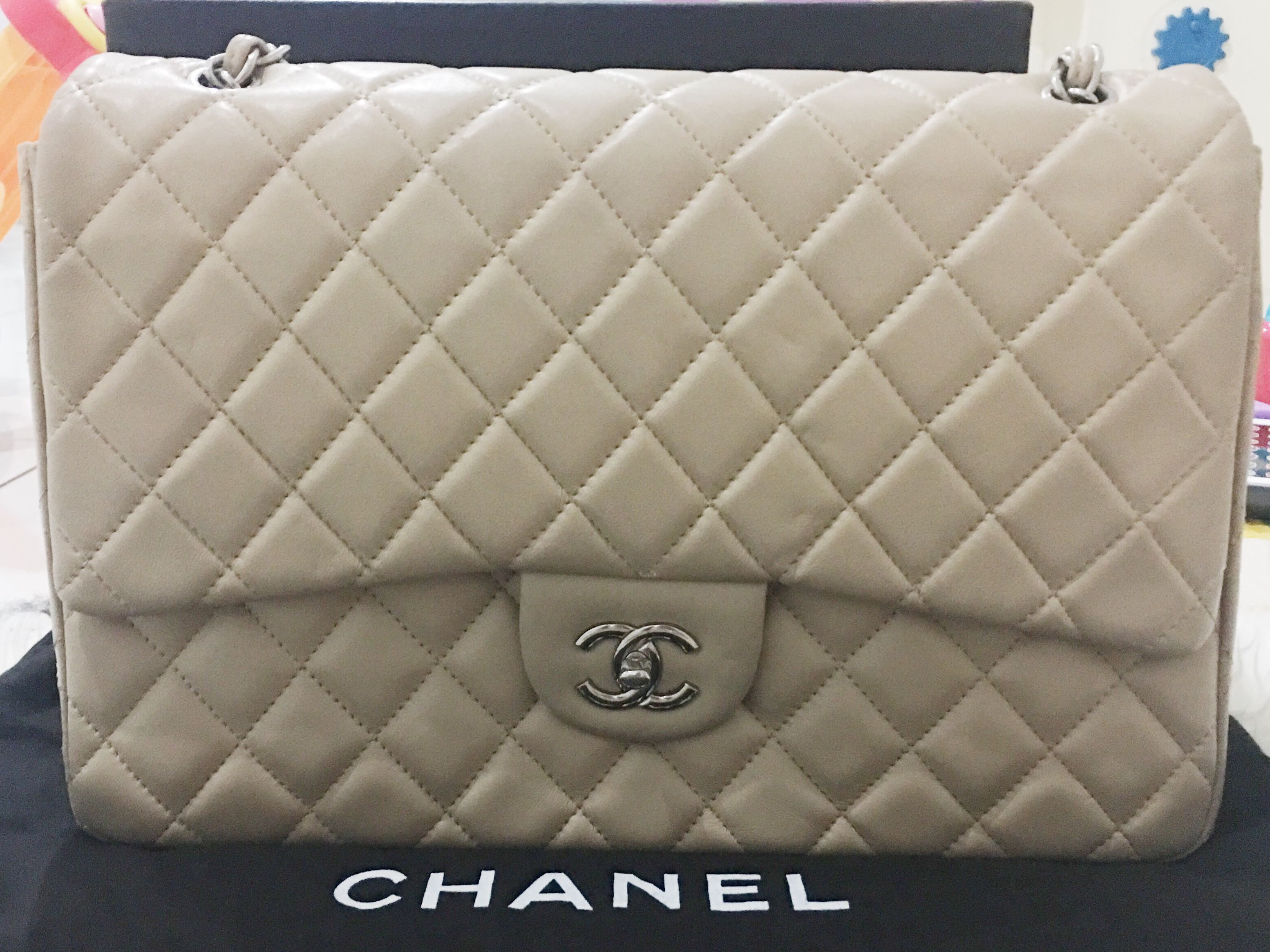 8574facfa491 Chanel lamb skin large, Luxury, Bags & Wallets on Carousell