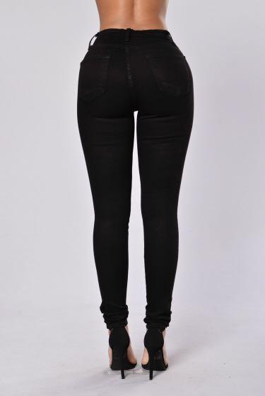 Fashion Nova High Waisted Black Ripped Jeans