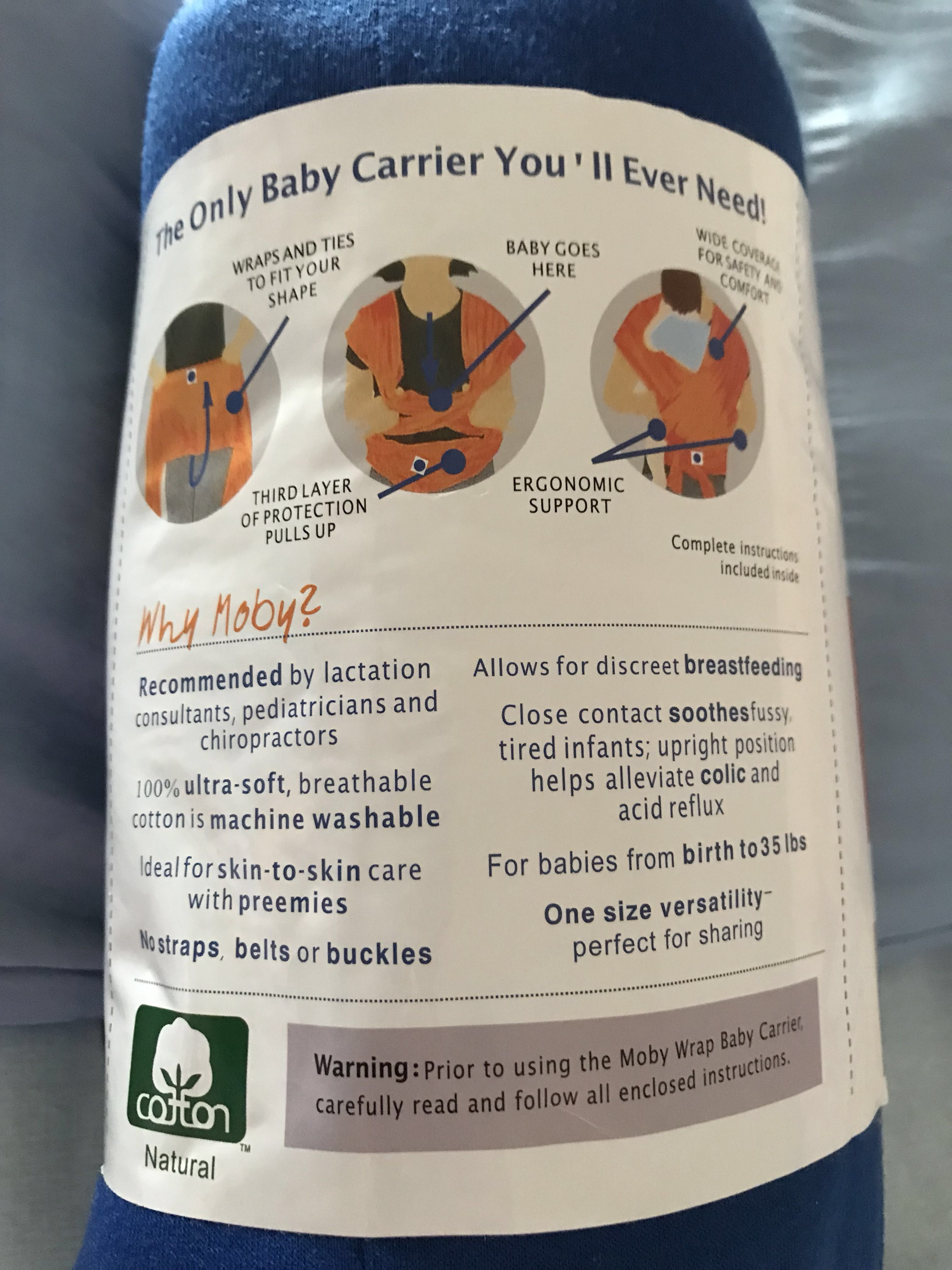 Moby Wrap Original 100 Cotton Infant Baby Carrier Color Royal Catton Share This Listing
