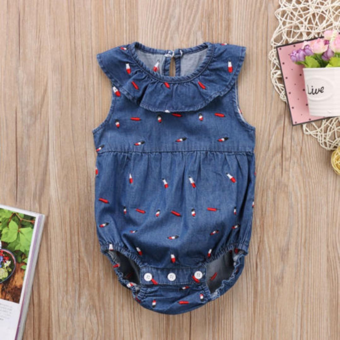 fdb8440ffee Newborn Toddler Kids Baby Girls Denim Romper Jumpsuit Bodysuit ...
