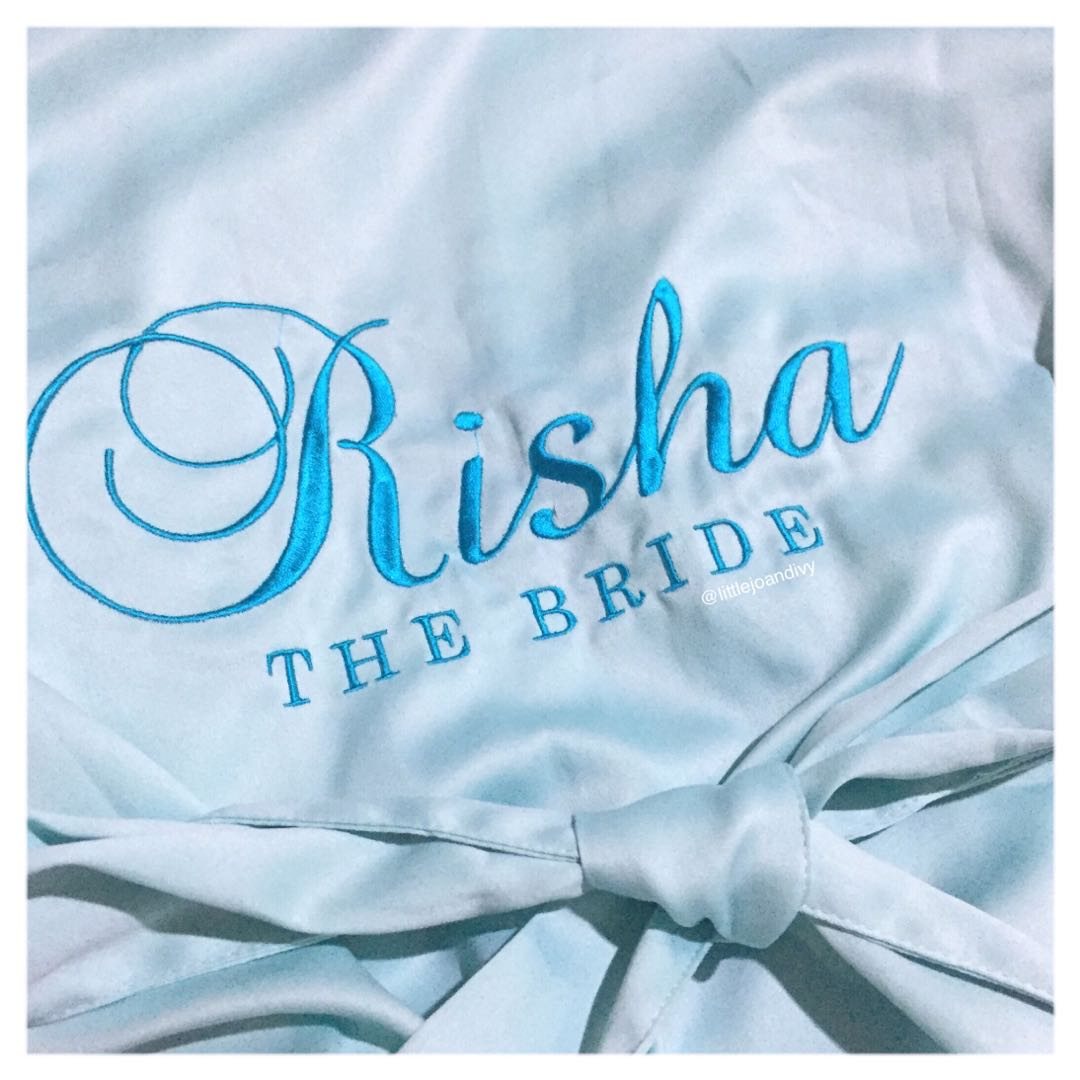 Personalised satin robe / bride robe / bridesmaid robe - aqua ...