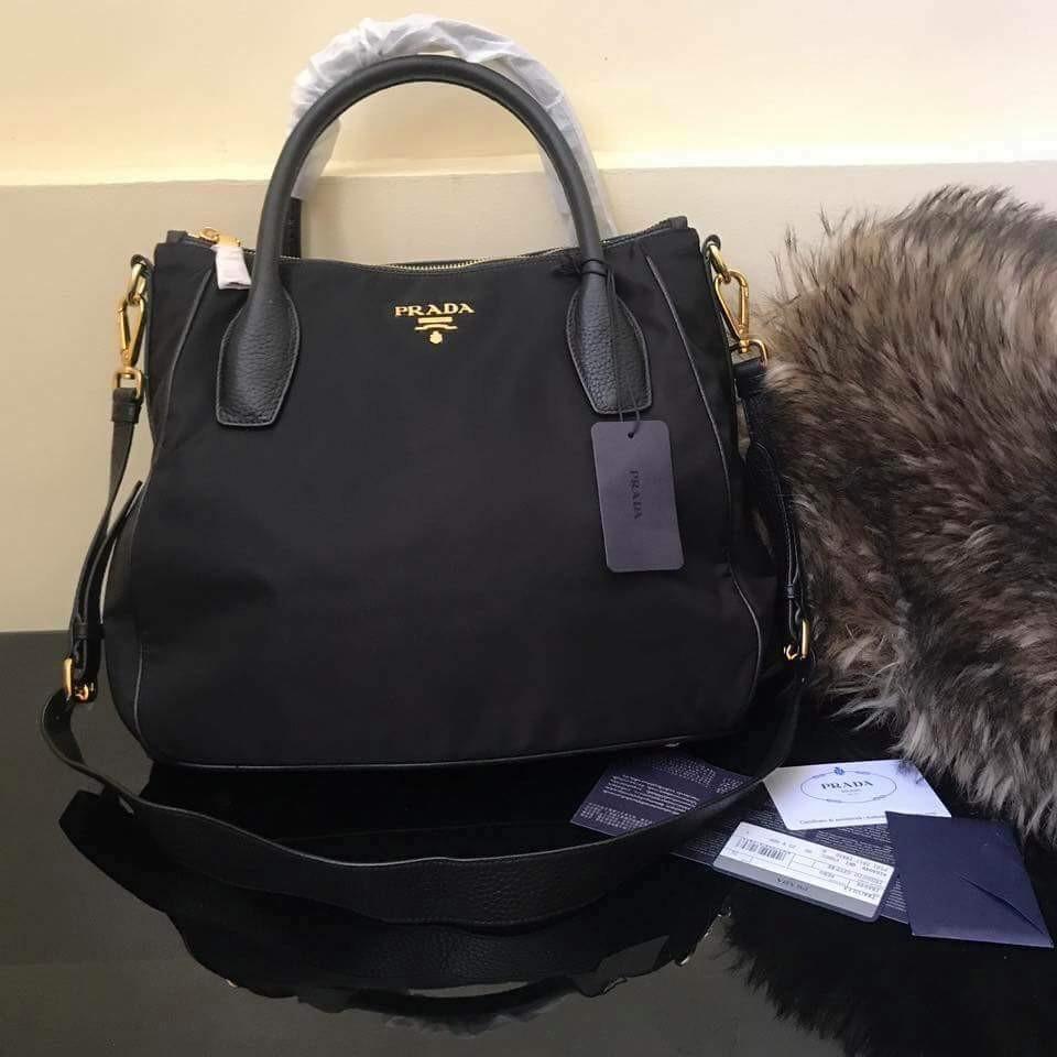 cb1930336a0e9 Prada BR4992 Nero Black Tessuto Soft Calf Leather and Nylon Hobo Handbag