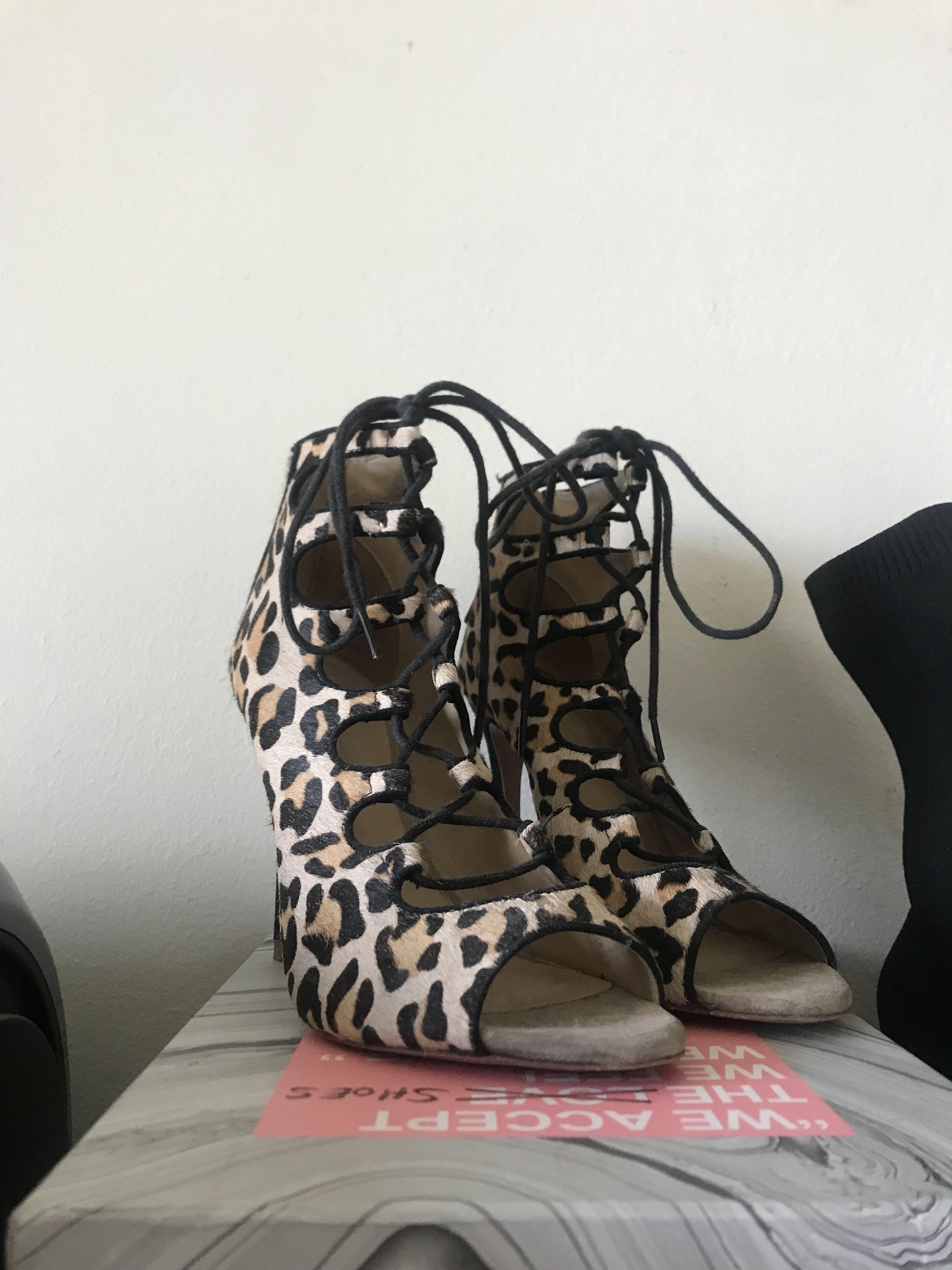 Zara - lace up leopard heels