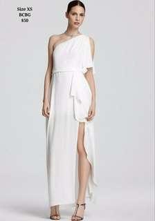 XS BCBG Off Shoulder White Gown