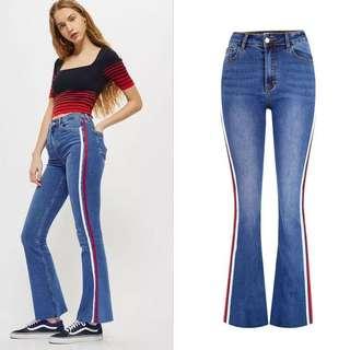 (34~42) Europe high waist slim stretch denim trousers stitching color