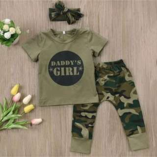 3 PCS camoflage daddy's girl suit