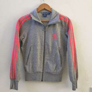 Adidas Gray and Pink Cotton Track Jacket