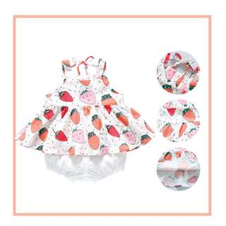Baby clothes - Adorable Strawberry Top with White Pantie for Baby Girl
