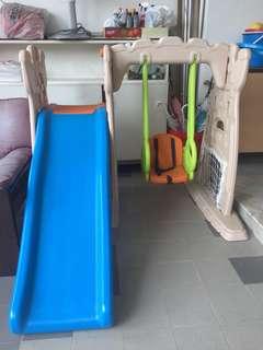 Children slide and swing