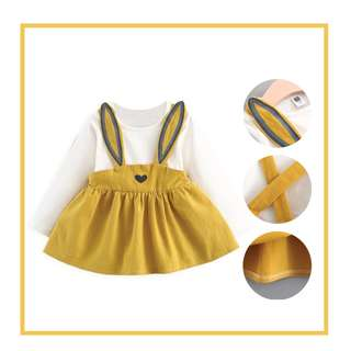 Baby clothes - Adorable Faux 2-piece Rabbit Long-sleeve Dress for Baby Girl