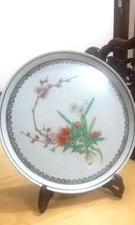 70's手繪粉彩茶盤